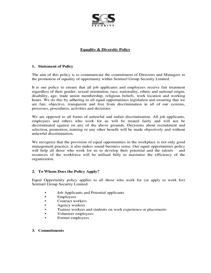diversity policy template equality diversity policy free download