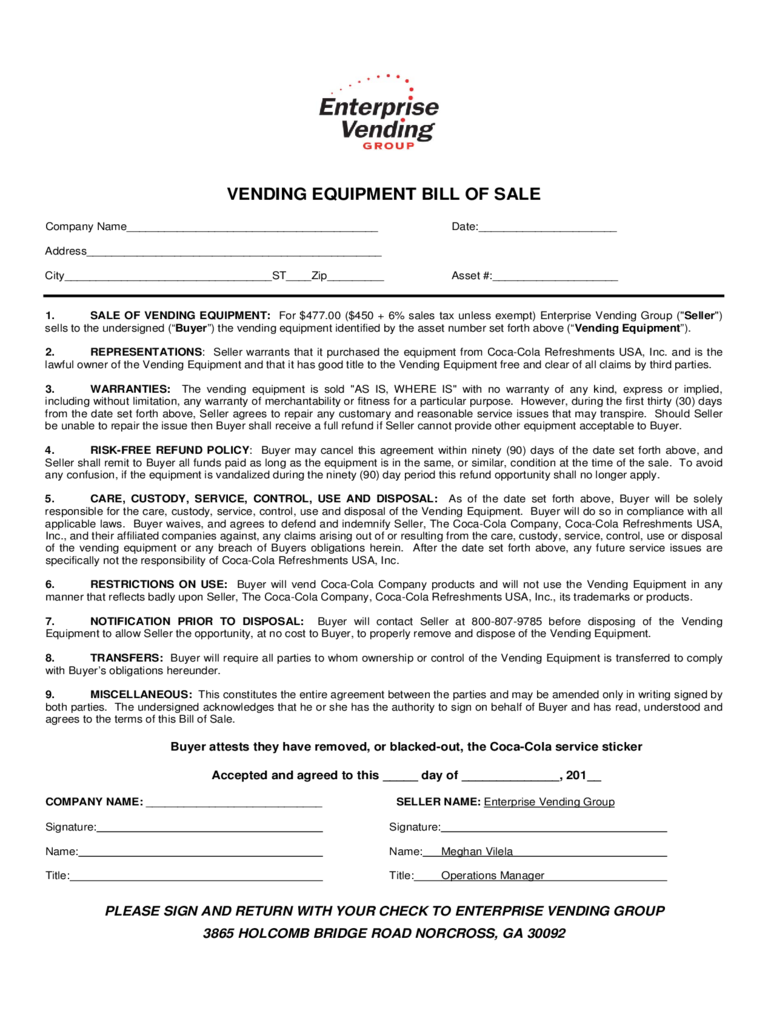 Vending Equipment Bill of Sale Form