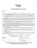 Vending Equipment Bill of Sale Form Free Download