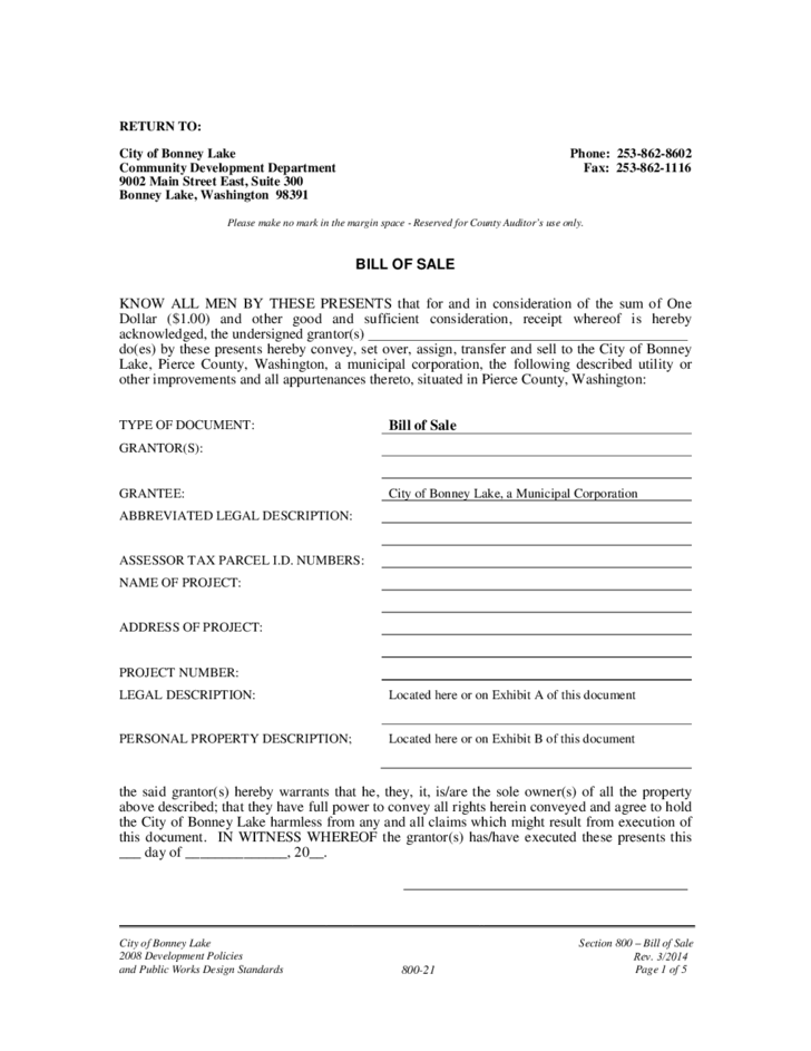 bill of sale example washington free download