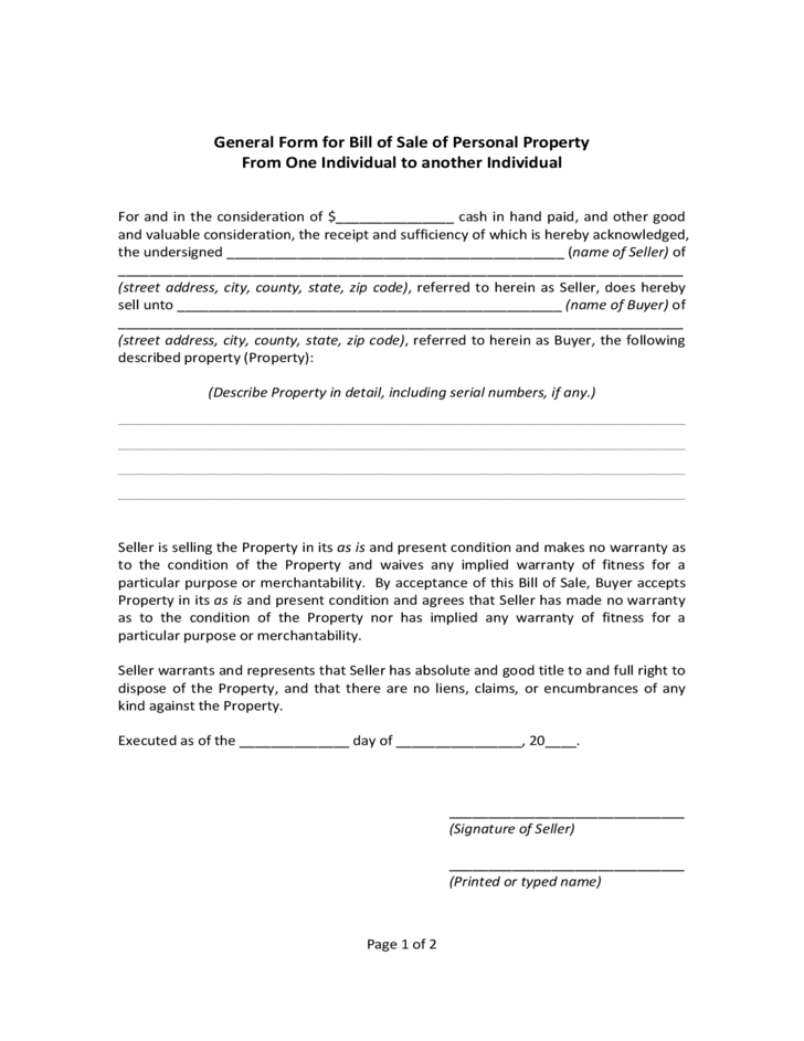 general form for bill of sale of personal property massachusetts