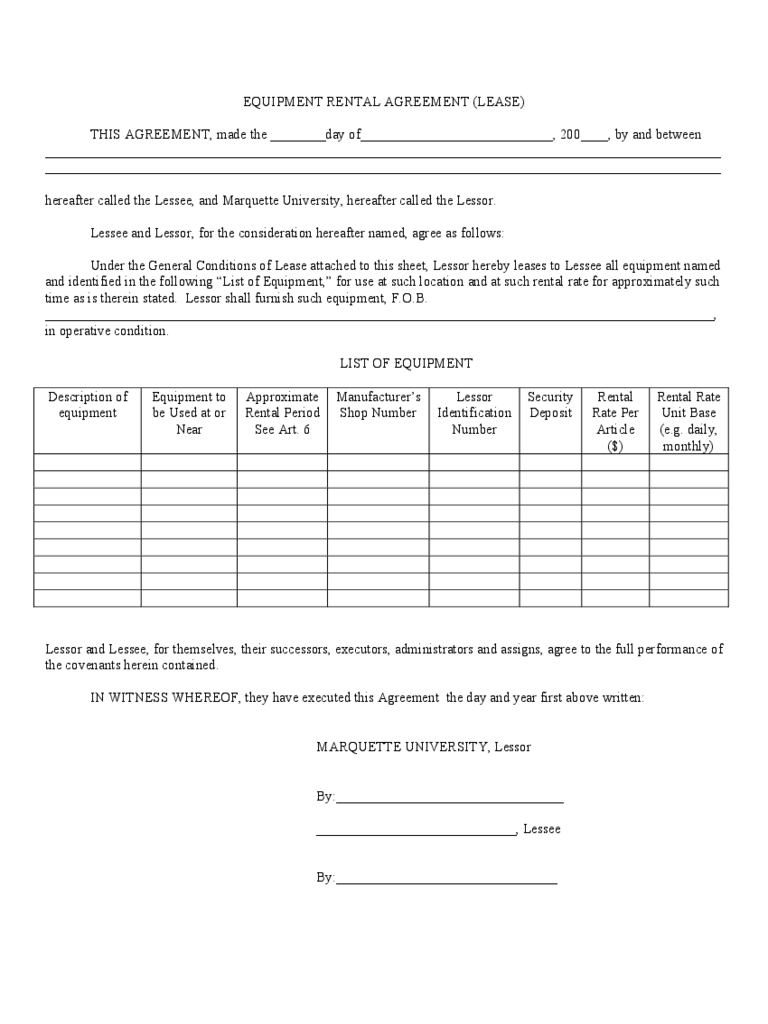 Equipment Rental and Lease Template