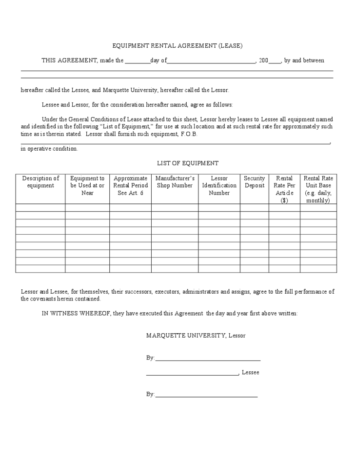 equipment hire form template equipment rental and lease template free download