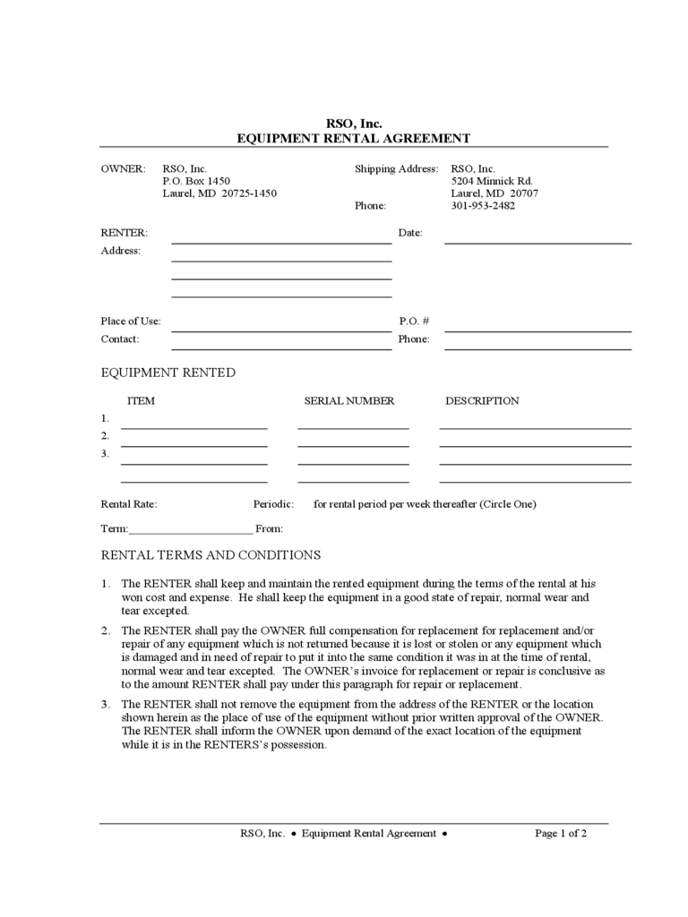 Equipment Rental and Lease Sample Form