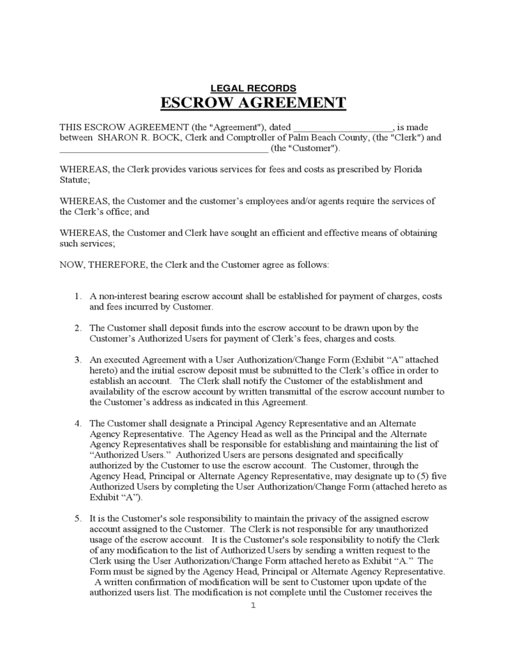 LEGAL RECORDS ESCROW AGREEMENT Free Download
