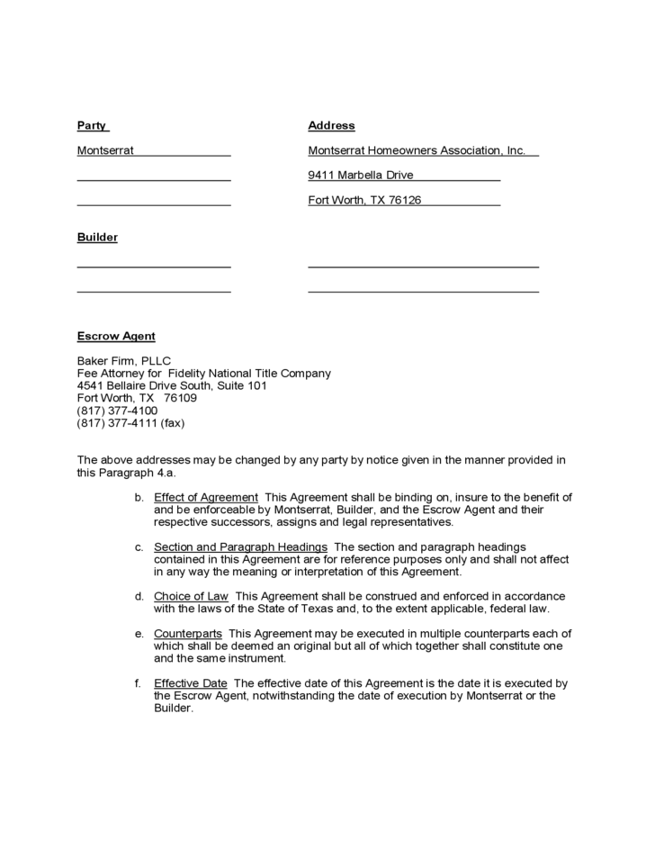 Sample Form For Escrow Agreement Free Download