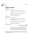 Sample Estimate Template Free Download