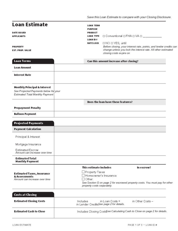 loan estimate template free download
