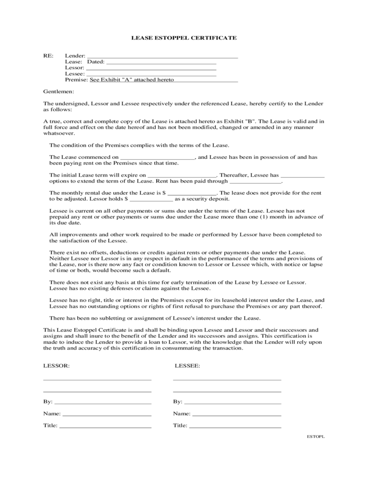 estoppel certificate template lease estoppel certificate free download