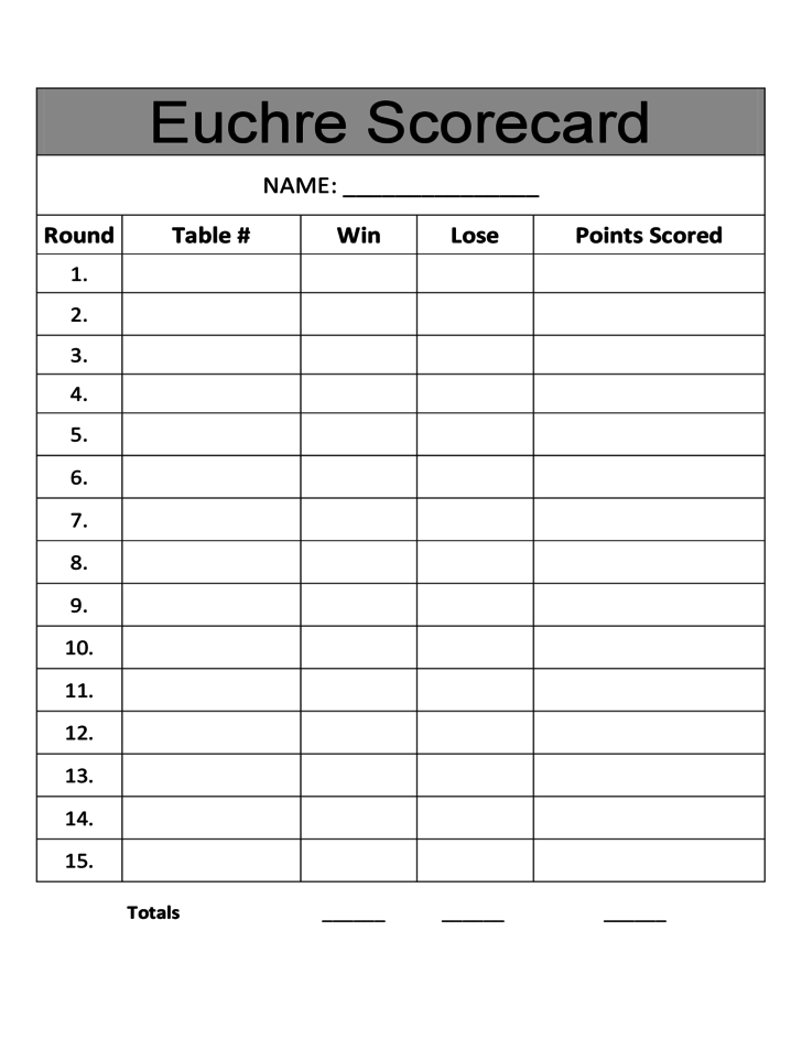 1 Sample Euchre Score Card