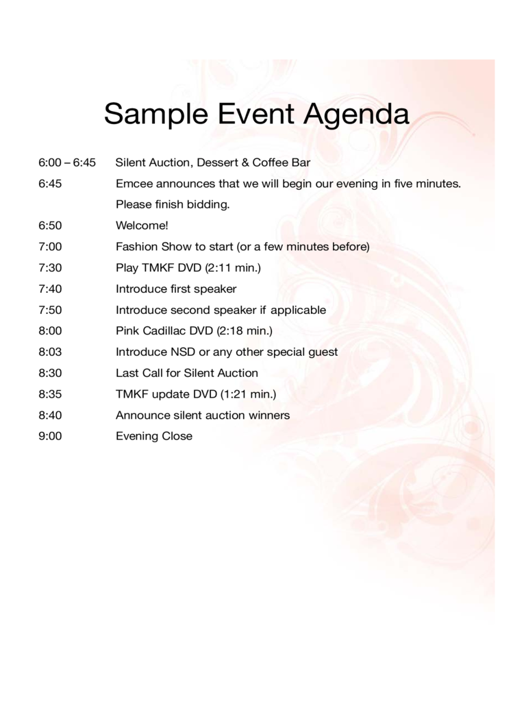 Event Agenda Template 2 Free Templates in PDF Word Excel Download – Event Agenda