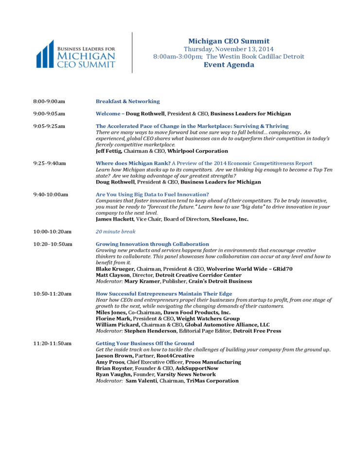 Event agenda - Business Leaders for Michigan