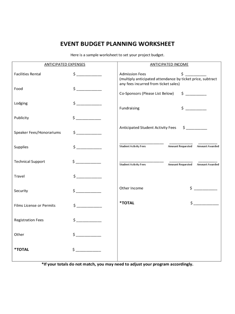 Event Budget Planning Worksheet