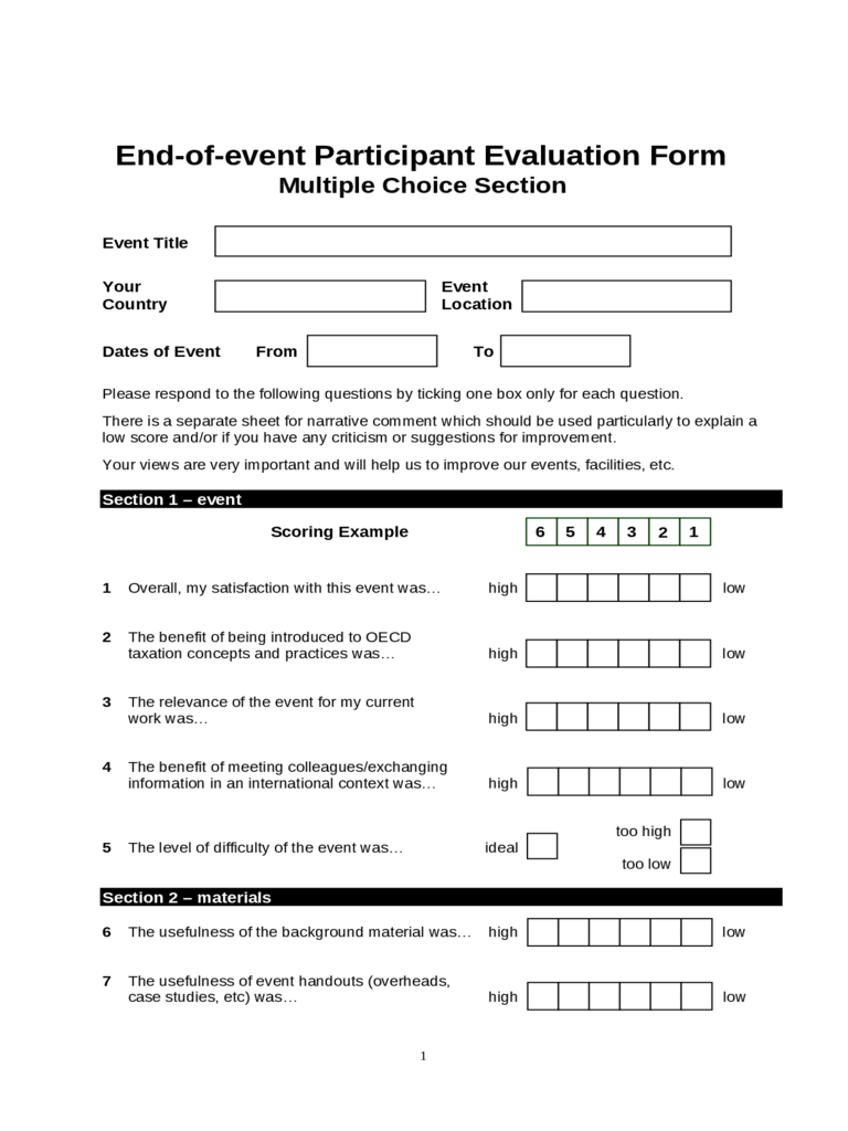 End Of Event Participant Evaluation Form