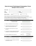 End-of-event Participant Evaluation Form Free Download