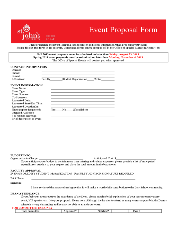 Event Proposal Form St Johns University Free Download