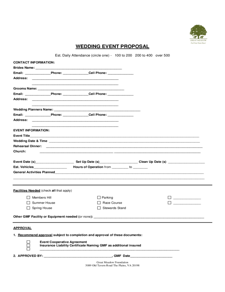 Wedding Event Proposal Template