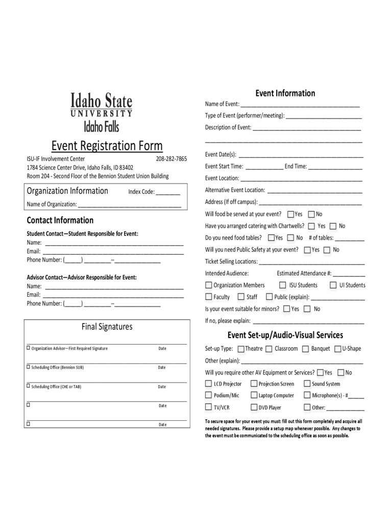 Event Registration Form   Idaho State University  Event Registration Form Template Word