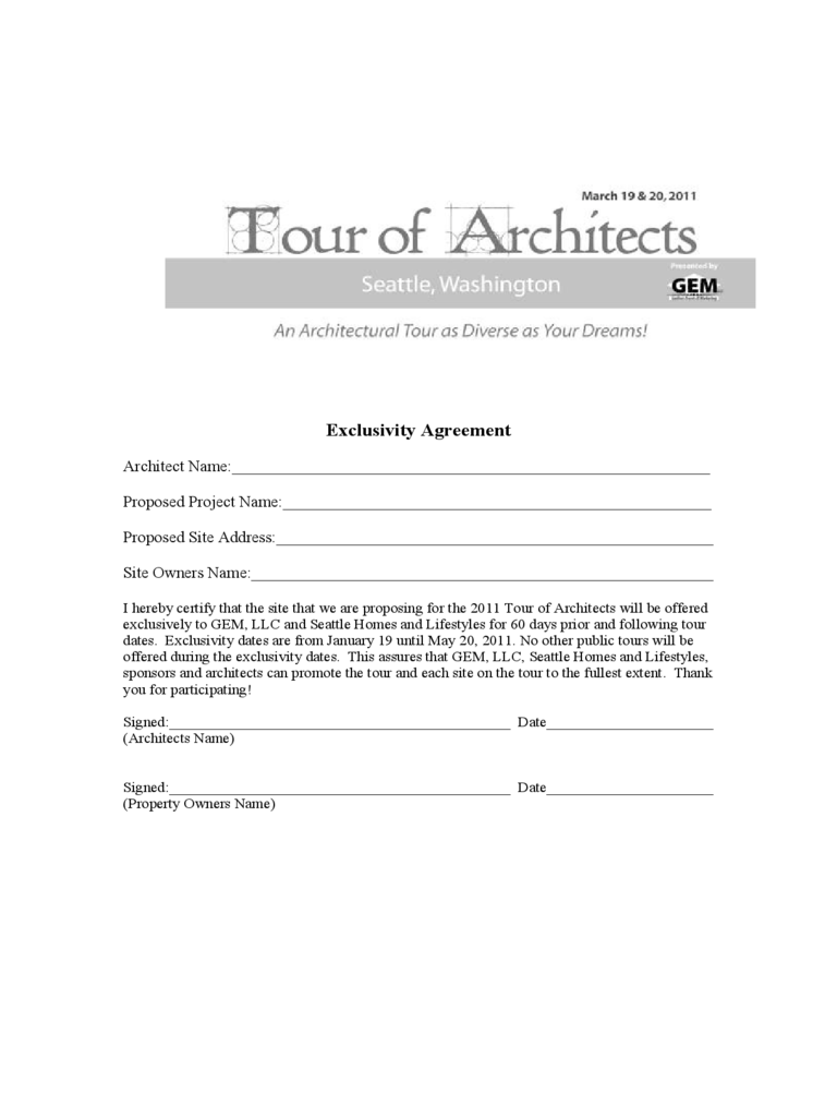 Exclusivity Agreement - Tour of Architects