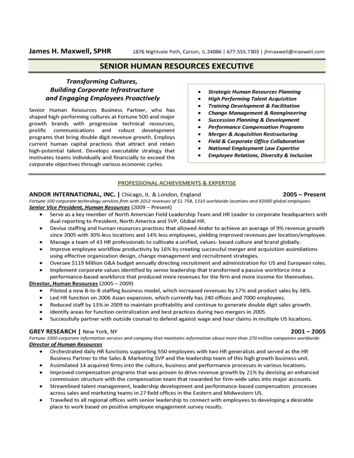 free human resources forms and templates - human resources executive resume sample free download