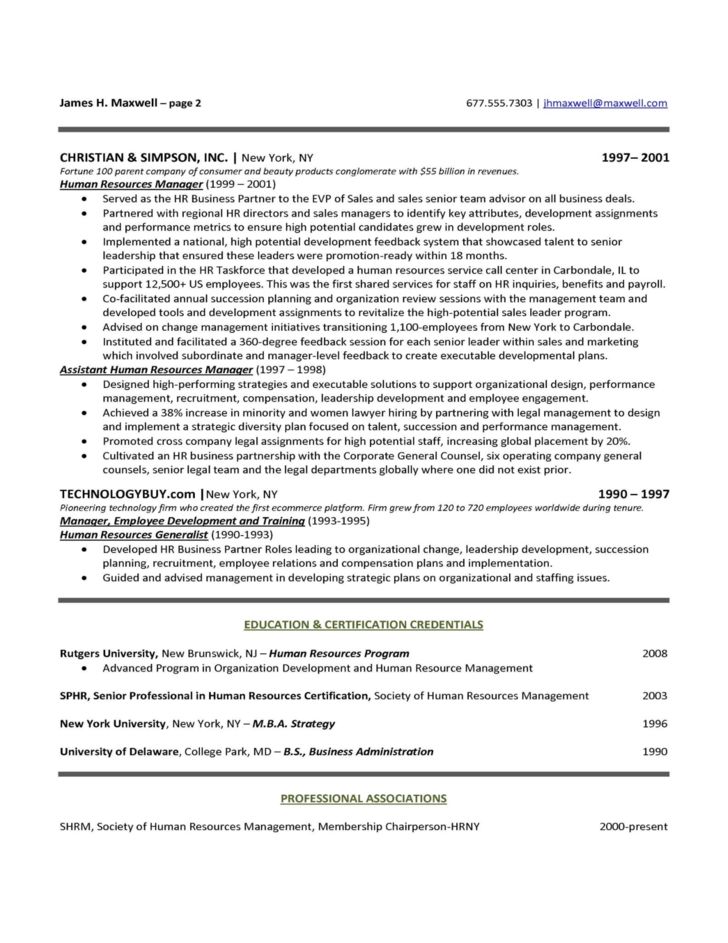 human resources executive resume sle free