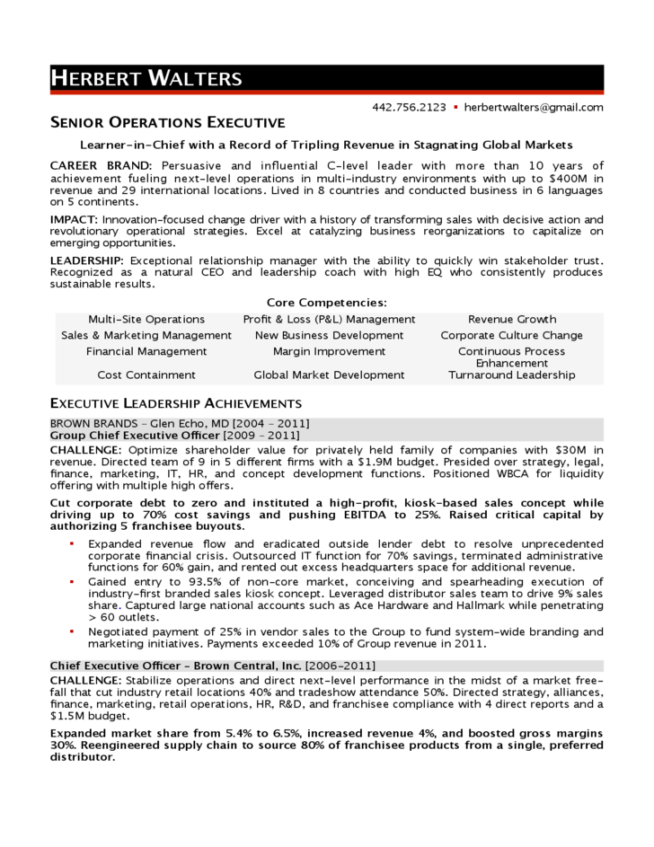 operations executive resume exles operations manager