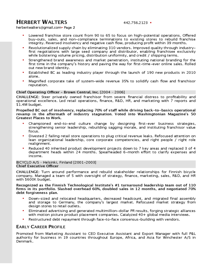 sample senior operations excutive resume free download