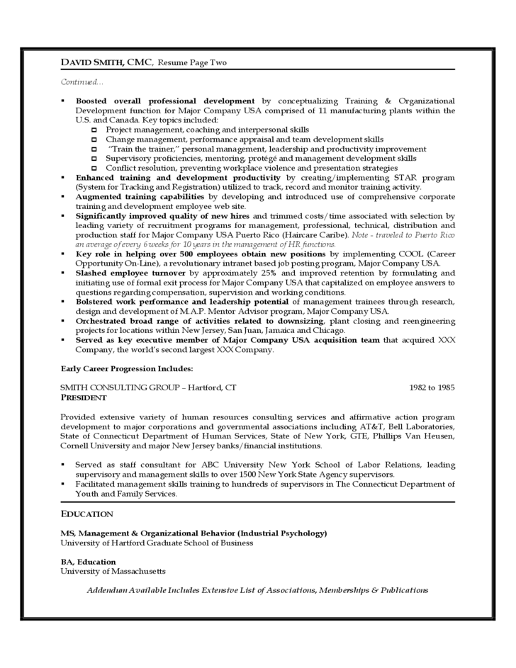 sle resume of human resources executive free