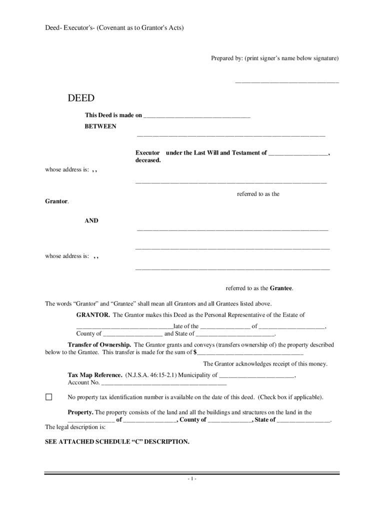 Deed of Executor's - New Jersey