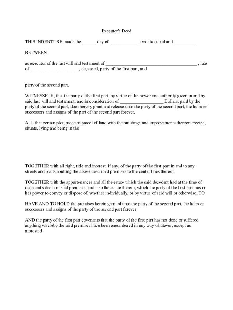 Executor's Deed Template Free Download