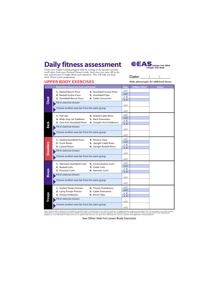 Exercise Guide Chart