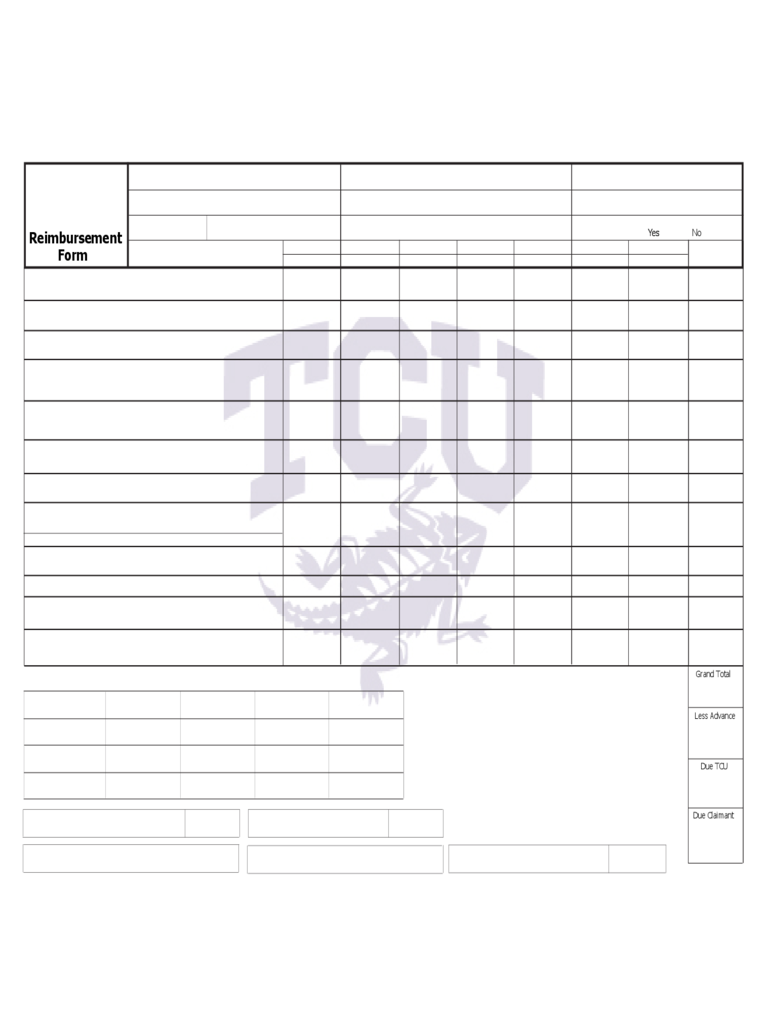 Expense Reimbursement Form   Texas Christian University