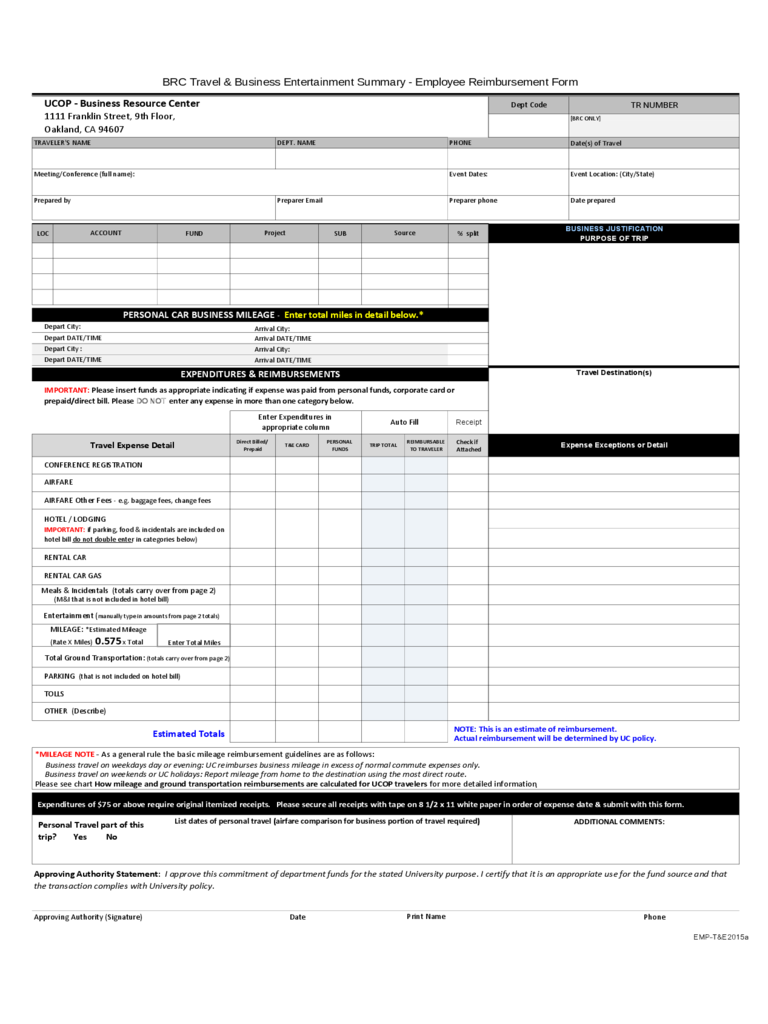 employee expense reimbursement form