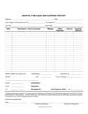 Monthly Mileage And Expense Report Free Download