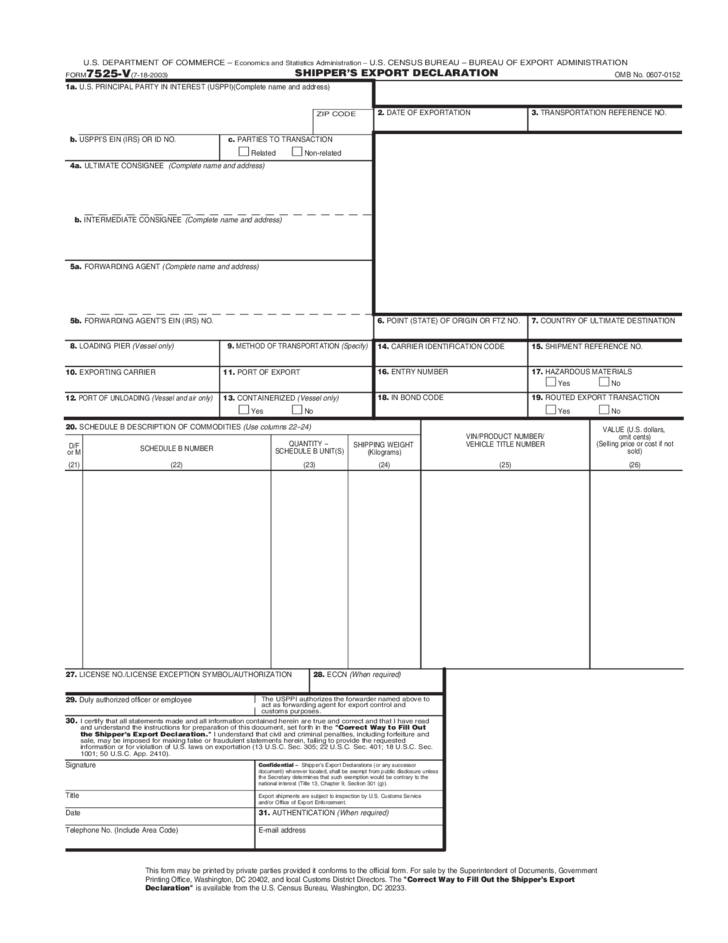 declaration document template - shipper 39 s export declaration united states free download