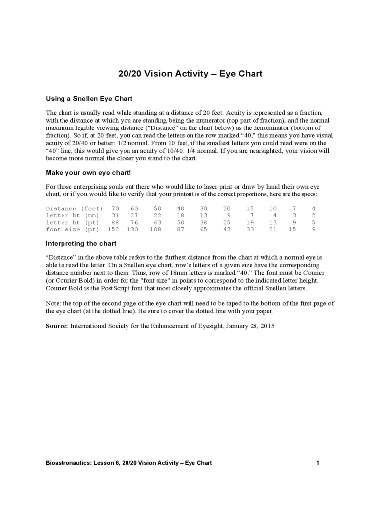 20/20 Vision Activity Eye Chart Free Download