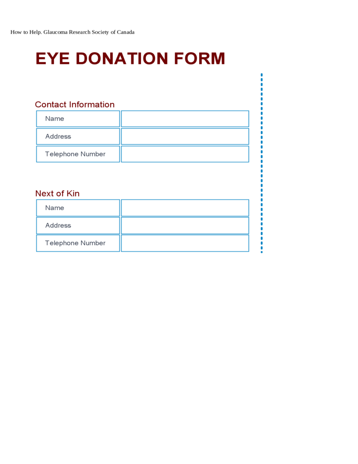 Glaucoma Research Eye Donation Form - Canada