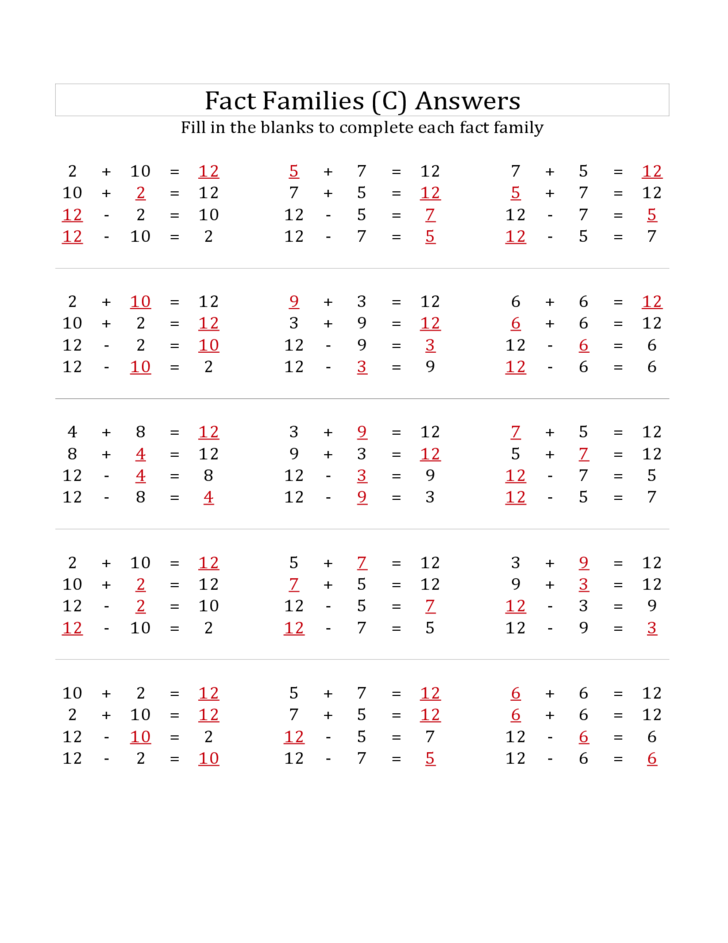 math worksheet : addition and subtraction fact families that add to 12 all free  : Fact Families Addition And Subtraction Worksheets
