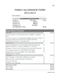 Family Allowance Form Sample Free Download
