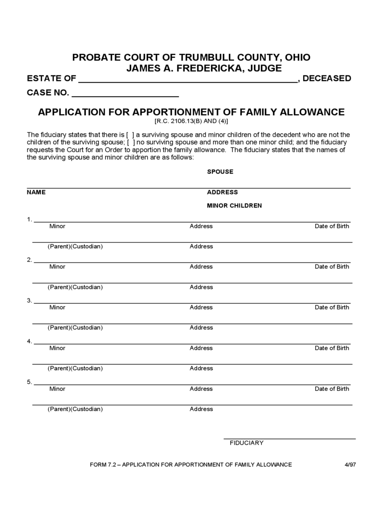 Family Allowance Form - Ohio