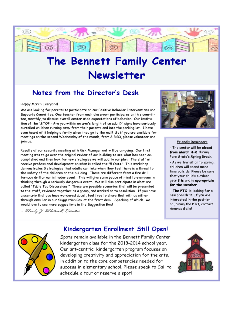 Family Center Newsletter