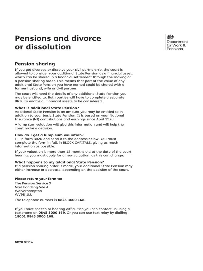 Pensions and Divorce or Dissolution