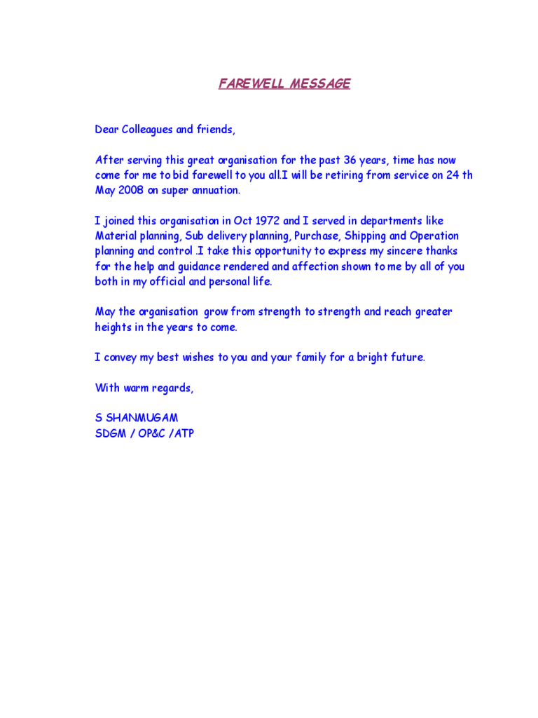 Simple Farewell Message Template