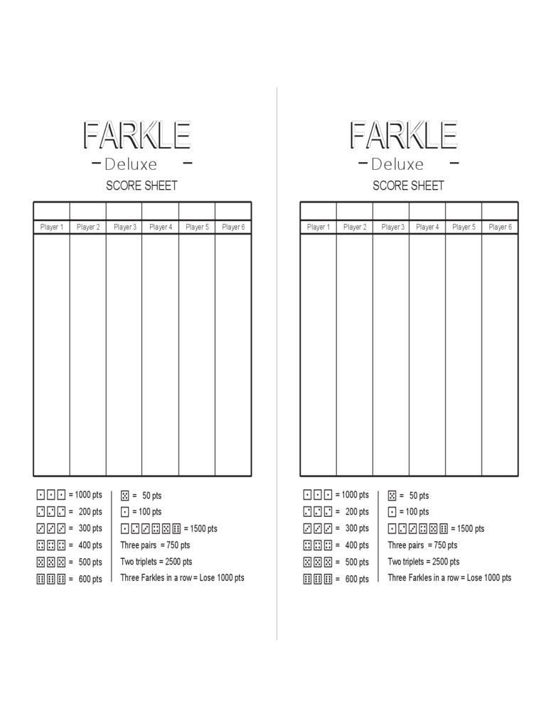 graphic relating to Free Printable Farkle Sheets known as Farkle Rating Sheet - 2 No cost Templates within PDF, Term, Excel
