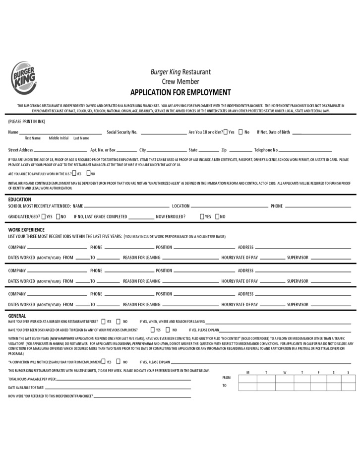 burger king restaurant crew member application for