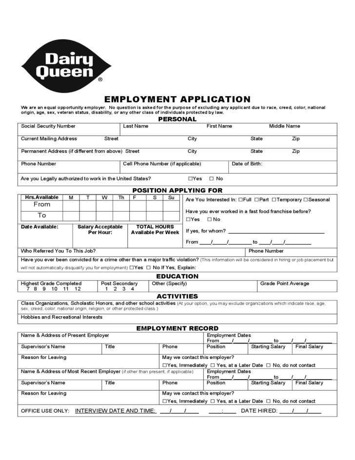 Dairy Queen Job Application - Adobe PDF - Apply Online