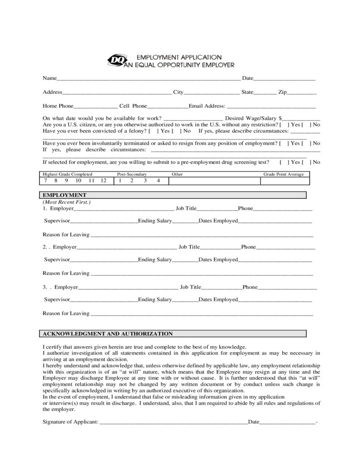 Dairy Queen Employment Application