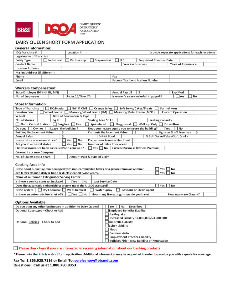 Dairy Queen Short Form Application Free Download