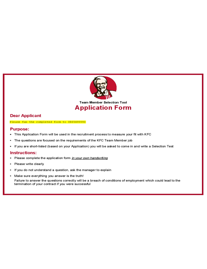 Kfc Job Application Online Form Choice Image Free Form Design Examples