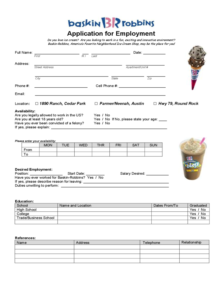 fast food and resturant job application form - 23 free templates in